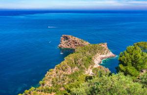 Beautiful view of natural landmark at coastline of Mallorca island, Spain Mediterranean Sea
